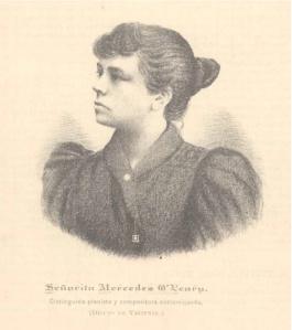 """Retrato de Mercedes O´Leary, pianista y compositora costarricense (Dibujo de Valiente), portada de """"Notas y Letras"""", 1894."""