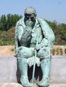 """Monumento a Sancho Panza en Alcalá de Ebro.  Portada de nuestra edición de """"La Ínsula Barataria"""" (2009) de Rima Vargas."""