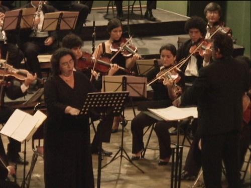 Zamira Barquero junto a la Orquesta de cámara de la UCR, bajo la batuta de Luis Diego Herra, durante el estreno.